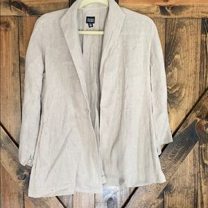 Eileen Fisher beige linen jacket size small!